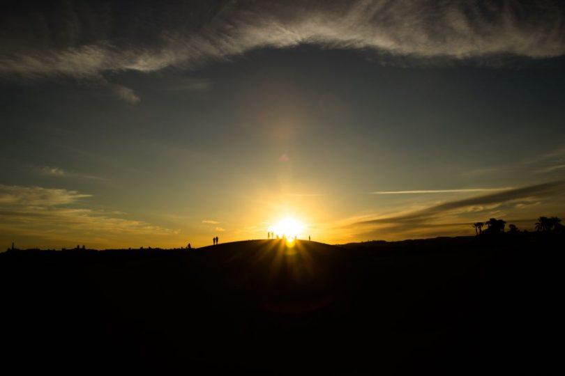 Sonnenuntergang über den Dünen in Maspalomas