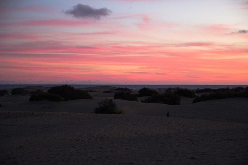 Roter Himmel Dünen von Maspalomas